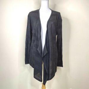I Heart Ronson Loose Knit Black Waterfall Cardigan